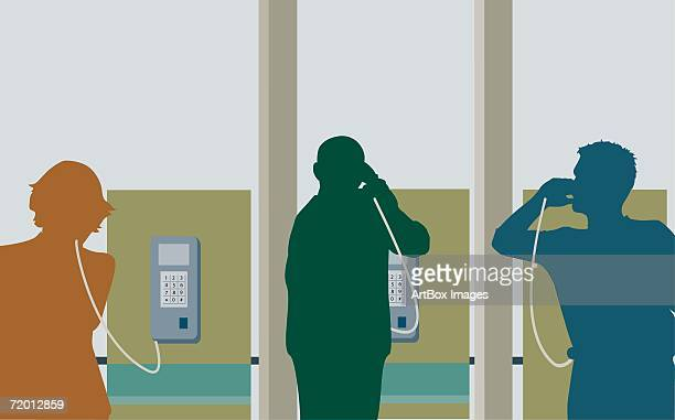 silhouette of two young men and a young woman talking on pay phones - phone cord stock illustrations, clip art, cartoons, & icons