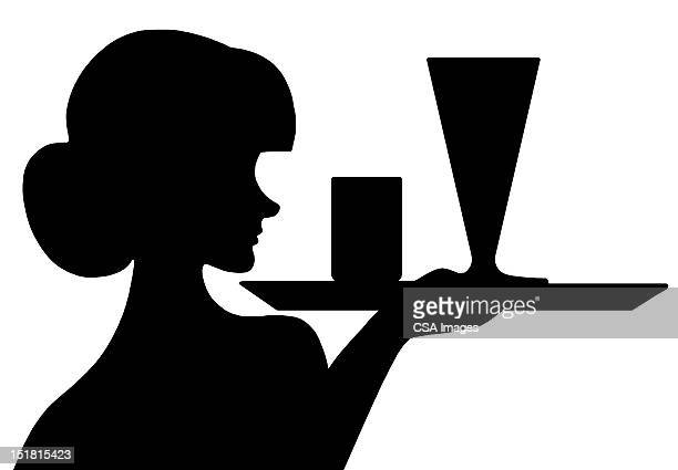 ilustraciones, imágenes clip art, dibujos animados e iconos de stock de silhouette of waitress with tray - industria alimentaria