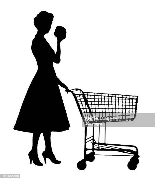 silhouette of woman and cart - consumerism stock illustrations