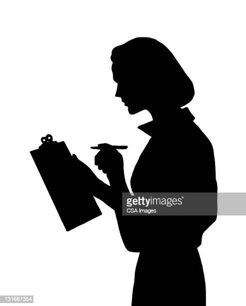 silhouette of woman holding clipboard - 女性一人点のイラスト素材/クリップアート素材/マンガ素材/アイコン素材