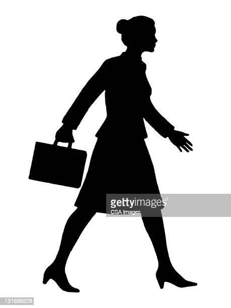 silhouette of woman - geschäftsfrau stock-grafiken, -clipart, -cartoons und -symbole