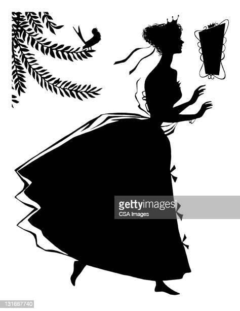 ilustraciones, imágenes clip art, dibujos animados e iconos de stock de silhouette of woman - reina de belleza