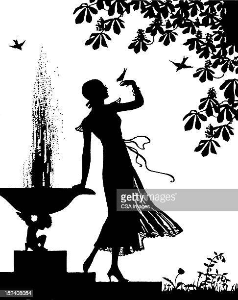 silhouette of woman in garden - fountain stock illustrations, clip art, cartoons, & icons