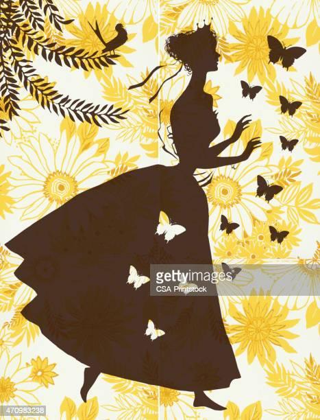 ilustrações, clipart, desenhos animados e ícones de silhueta de mulher em fundo floral - somente adultos