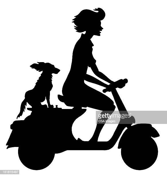 Silhouette of Woman on Scooter
