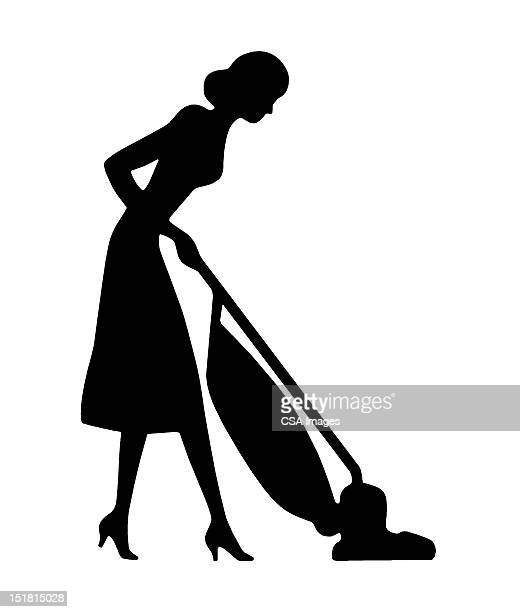 silhouette of woman vacuuming - 主婦業点のイラスト素材/クリップアート素材/マンガ素材/アイコン素材