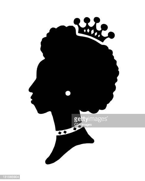 silhouette of woman wearing crown - headwear stock illustrations