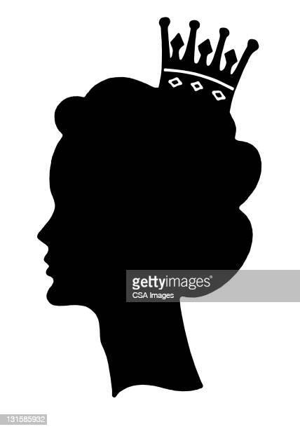 ilustraciones, imágenes clip art, dibujos animados e iconos de stock de silhouette of woman wearing crown - reina de belleza