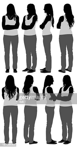 silhouette of women standing with arms crossed - sleeveless stock illustrations, clip art, cartoons, & icons