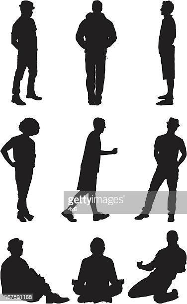 silhouette vector images of casual men - hooded top stock illustrations