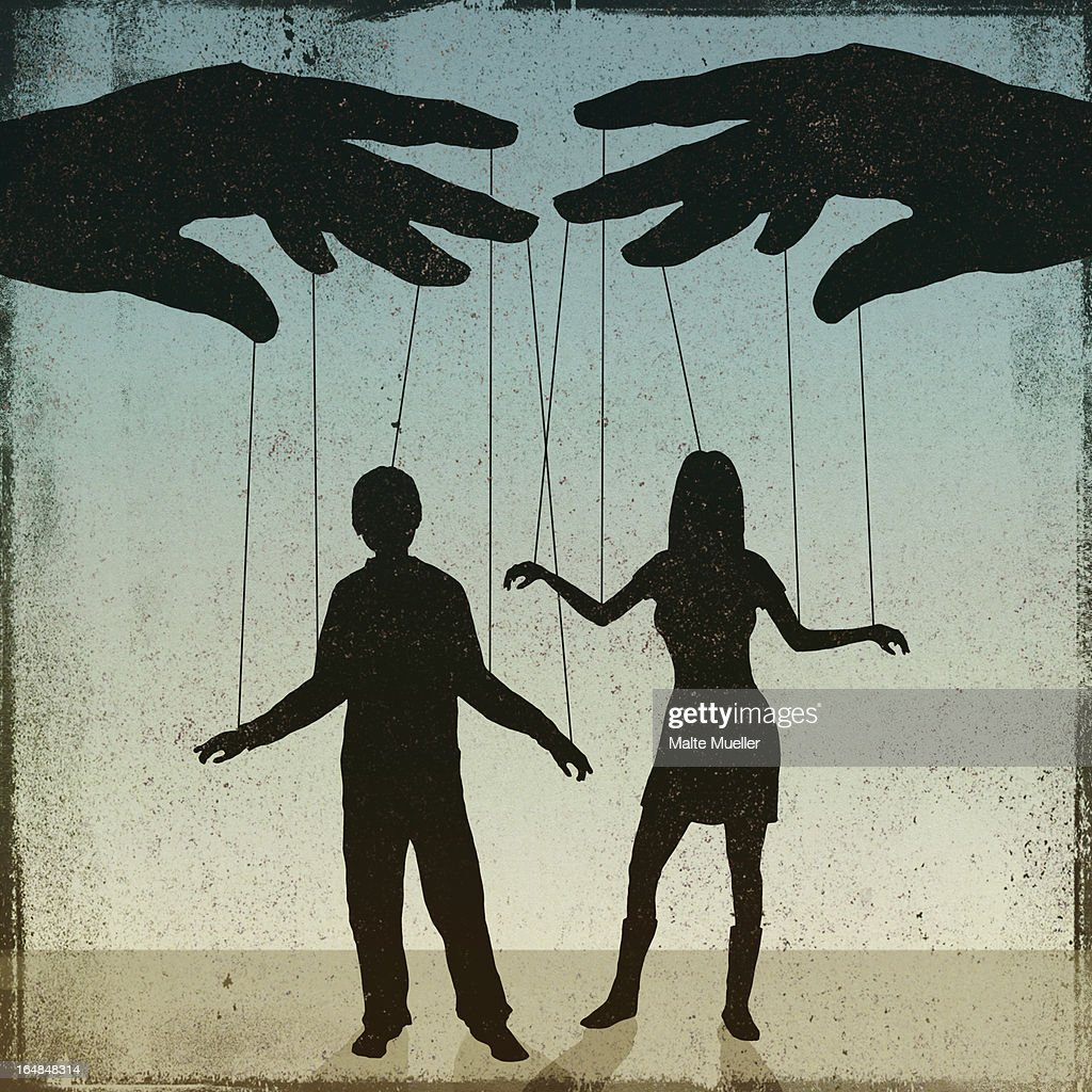 A silhouetted man and woman being controlled by a puppeteer : Stock-Illustration