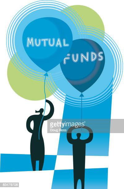 silhouetted man and woman holding balloons with the words mutual funds - nasdaq stock illustrations, clip art, cartoons, & icons