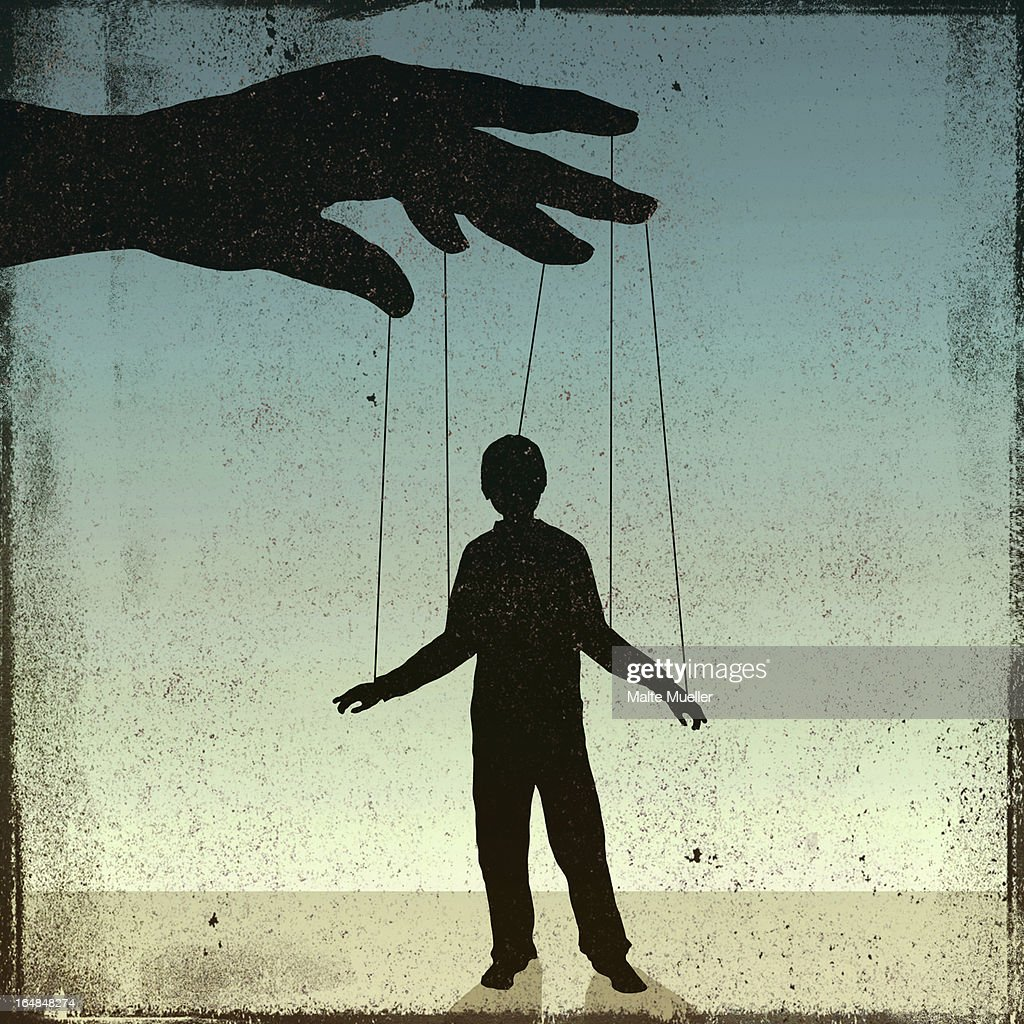 A silhouetted man being controlled by a puppeteer : stock illustration