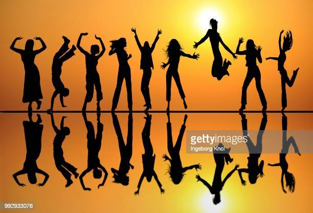 Silhouettes, dancing teenagers, reflection, sunset, illustration