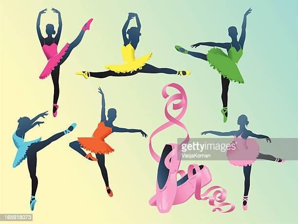 ilustraciones, imágenes clip art, dibujos animados e iconos de stock de siluetas de ballet ballerinas con pantuflas - zapatilla de ballet