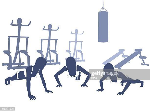 silhouettes of girls in a gym - abdominal muscle stock illustrations, clip art, cartoons, & icons