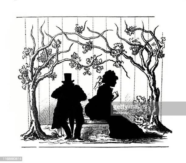 ilustrações, clipart, desenhos animados e ícones de silhuetas do homem e da mulher em um parque - 1887