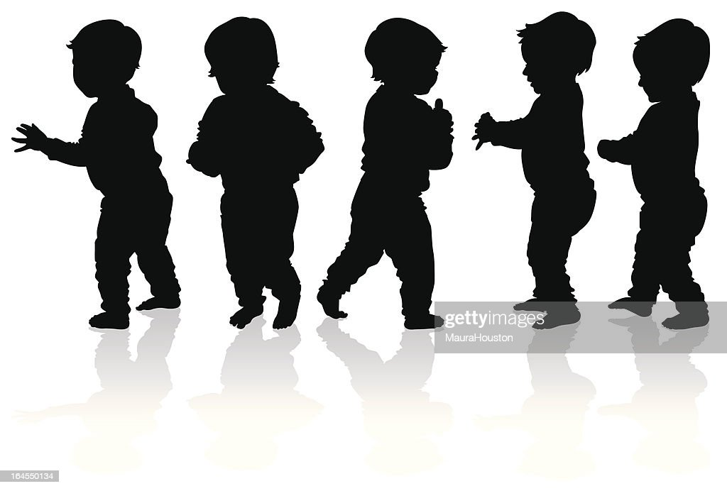 Silhouettes of more babies walking