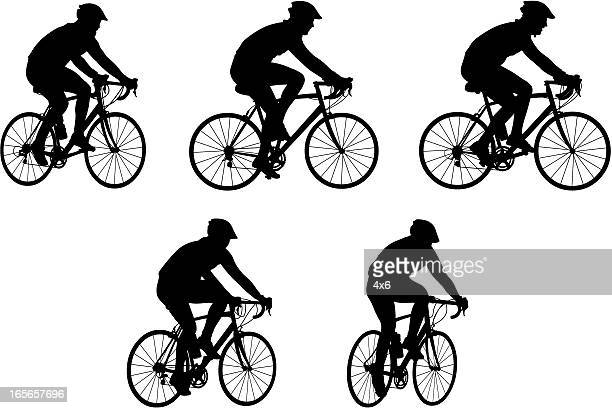 silhouettes of people riding bicycles - bike helmet stock illustrations, clip art, cartoons, & icons