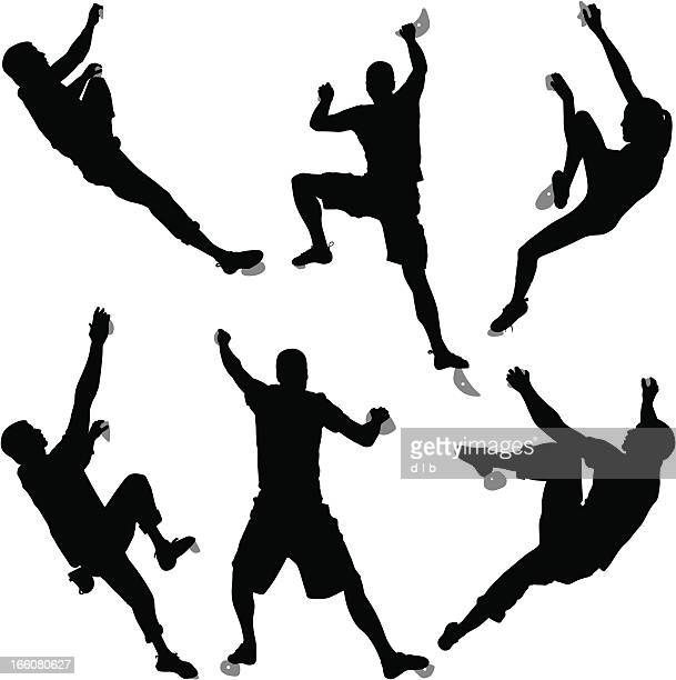 silhouettes of six climbers bouldering at an indoor climbing gym - climbing stock illustrations