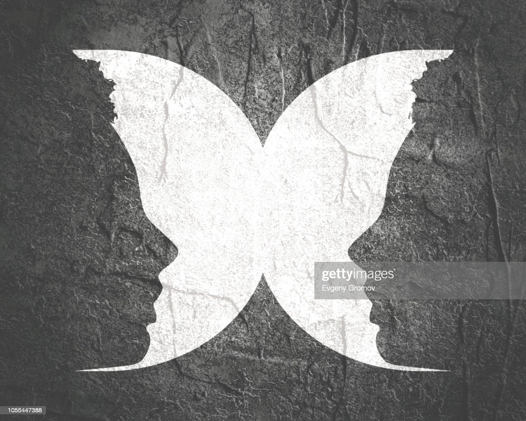 Silhouettes of two head. : stock illustration