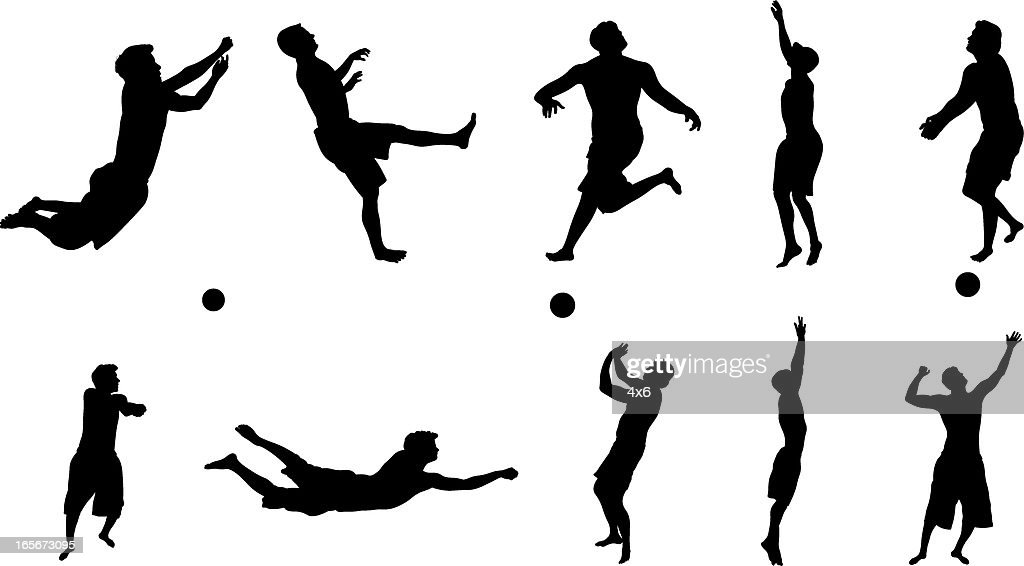 Illustration Abstract Volleyball Player Silhouette: Silhouettes Of Volleyball Players In Action Vector Art