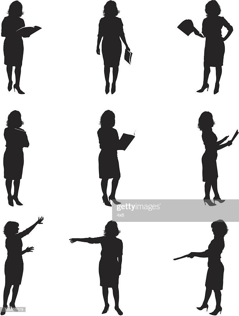 Siluetas de mujeres de lectura : Ilustración de stock