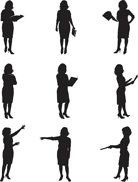 silhouettes of women reading - human body part stock illustrations