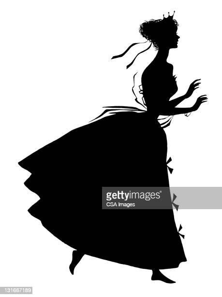 ilustraciones, imágenes clip art, dibujos animados e iconos de stock de silhoutte of woman - reina de belleza
