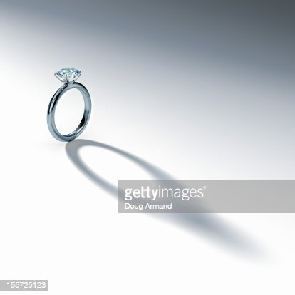 Silver Diamond Ring Casting Shadow White Stock Illustration