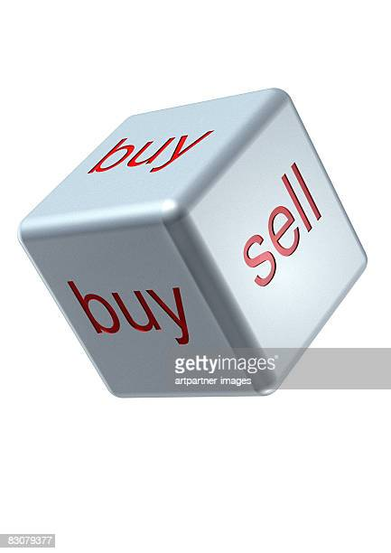 silver dice with buy and sell on its sides - opportunity stock illustrations
