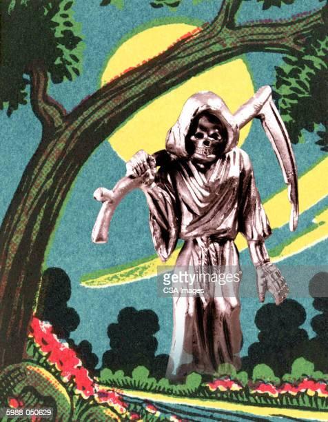 silver grim reaper figurine - death stock illustrations