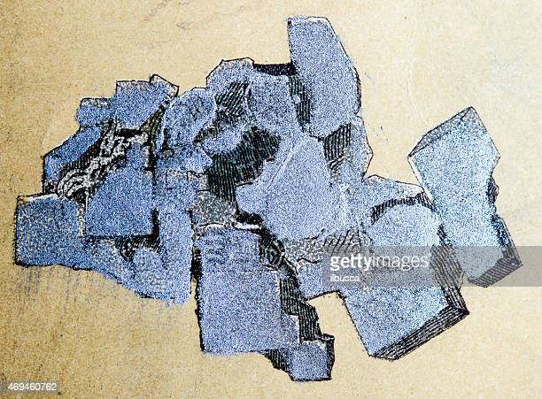 Silver, mineral stone antique illustration