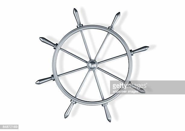 silver steering wheel on white background - nautical vessel stock illustrations