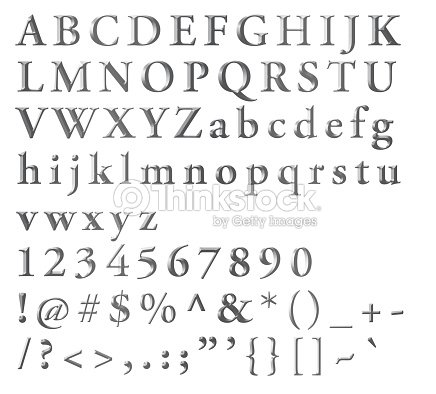 Silvered Alphabetical Letters Numbers And Symbols Stock
