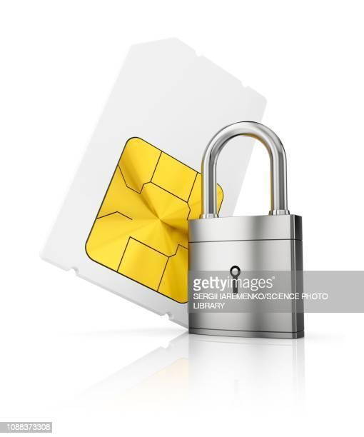 sim-card security, conceptual illustration - lock stock illustrations