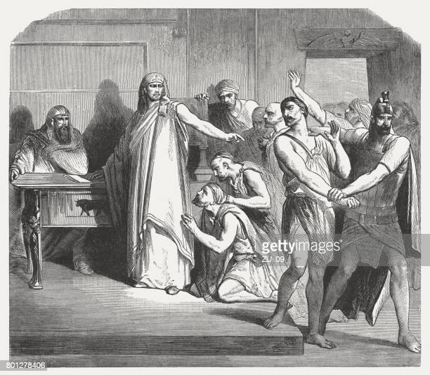 Simon is captured by Joseph (Genesis 42, 24), published 1886