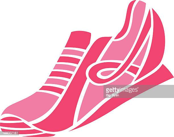 simple breast cancer shoe - cartoon cancer stock illustrations