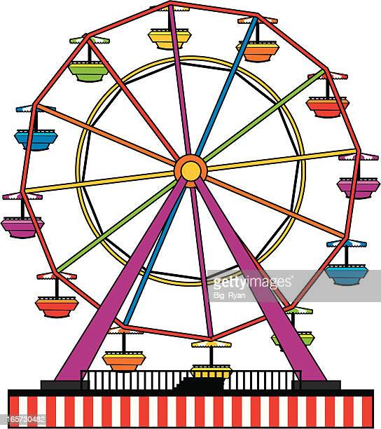 simple ferris wheel - ferris wheel stock illustrations, clip art, cartoons, & icons