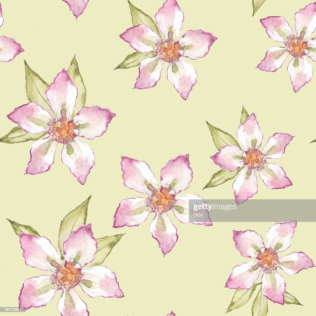 Simple Floral Pattern Seamless Background Hand Drawn Watercolor