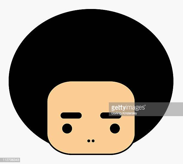 simple illustration of person with afro hair - natural condition stock illustrations, clip art, cartoons, & icons