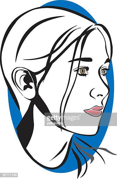 simple portrait of teenage girl - humourless stock illustrations, clip art, cartoons, & icons