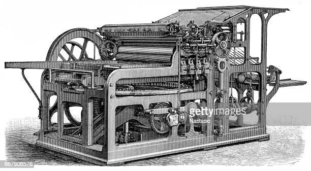 simple quick press (konig & bauer) - printing press stock illustrations