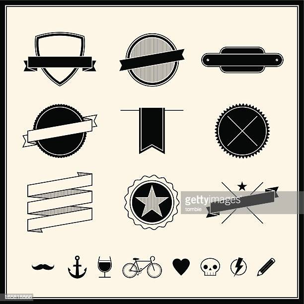simple retro design elements - racing bicycle stock illustrations