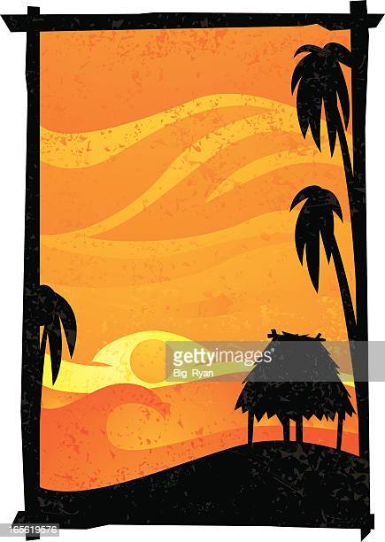 simple tropical - grass hut stock illustrations