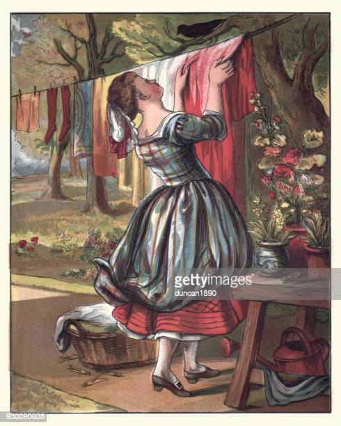 sing a song of sixpence, maid hanging out the clothes - maid stock illustrations, clip art, cartoons, & icons