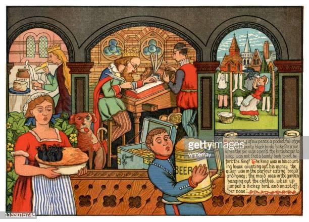 illustrazioni stock, clip art, cartoni animati e icone di tendenza di 'sing a song of sixpence' - victorian nursery rhyme illustration - periodo medievale