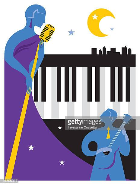 a singer and musician performing at a jazz festival - music style stock illustrations, clip art, cartoons, & icons