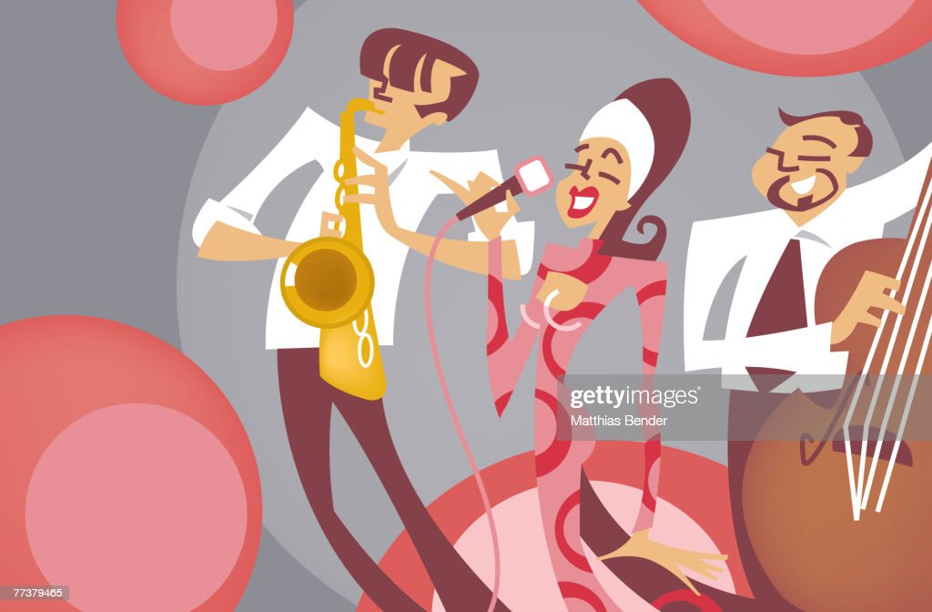 A singer singing in tune with saxophone and a cello : Illustration