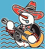 Singing Mariachi Snowman & Guitar